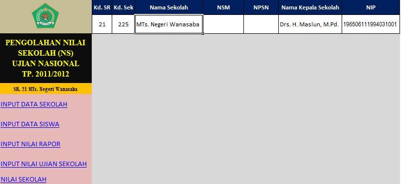 Pengolahan Nilai Sekolah Menggunakan Excel